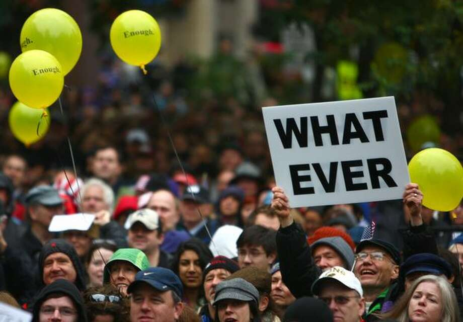 Thousands of people gather during a satellite gathering of the Rally to Restore Sanity in Seattle. Photo: Joshua Trujillo, Seattlepi.com