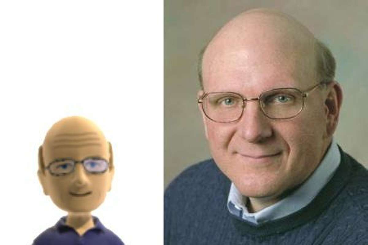 Microsoft CEO Steve Ballmer and his Xbox Live avatar, which the company posted to its press website for the launch of the Kinect motion sensor for Xbox 360.