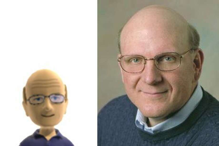 Microsoft CEO Steve Ballmer and his Xbox Live avatar, which the company posted to its press website for the launch of the Kinect motion sensor for Xbox 360. Photo: Microsoft
