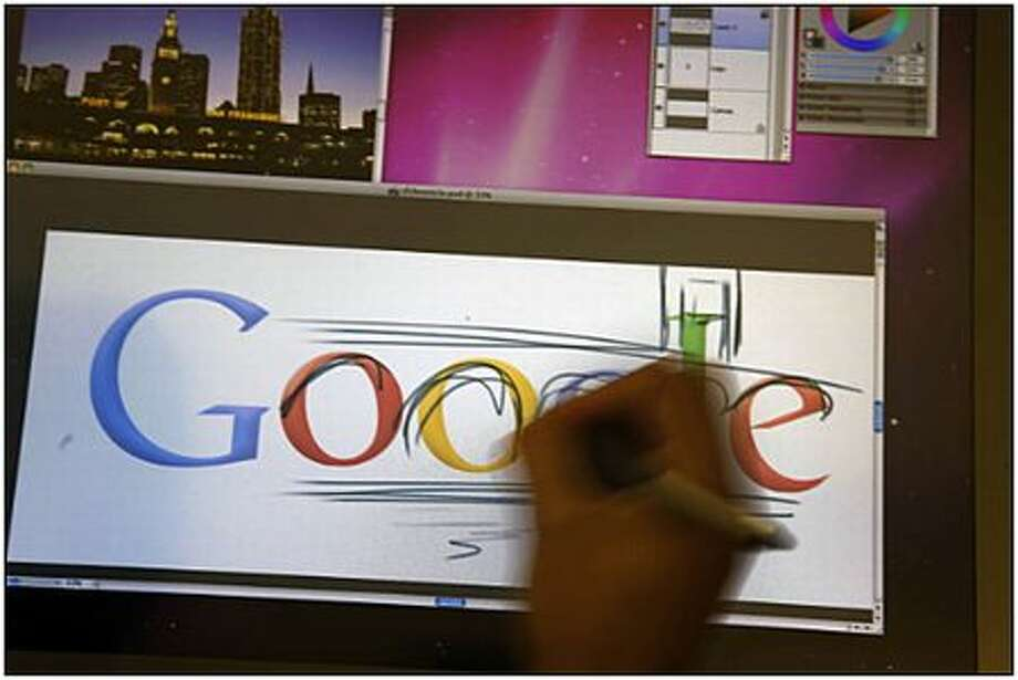 Google Chief Doodler Michael Lopez demonstrates the process of creating a doodle at Google's headquarters in Mountain View, Calif. Photo: Lea Suzuki, San Francisco Chronicle