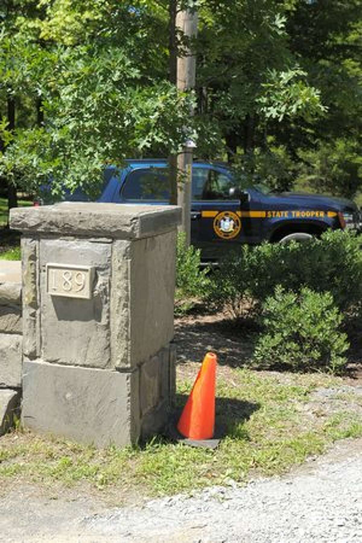 A general view of one of the State Trooper guarded entrances to Astor Manor at 189 River Road as the town prepares for the wedding of Chelsea Clinton and Marc Mezvinsky on July 31, 2010 in Rhinebeck, New York.