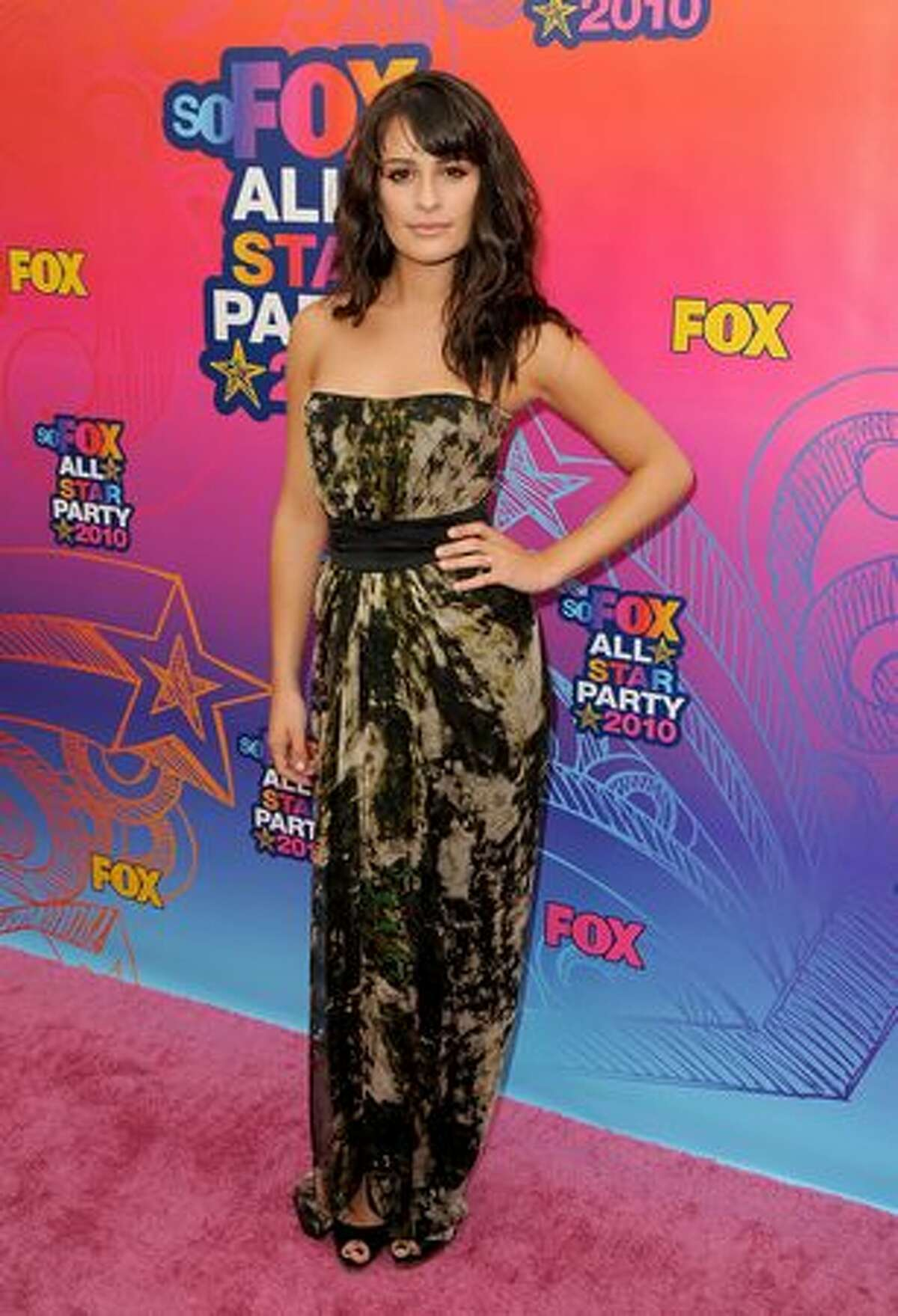 Actress Lea Michele arrives at the Fox 2010 summer Television Critics Association all-star party held at Pacific Park on the Santa Monica Pier in Santa Monica, Calif., on Monday, Aug. 2, 2010.