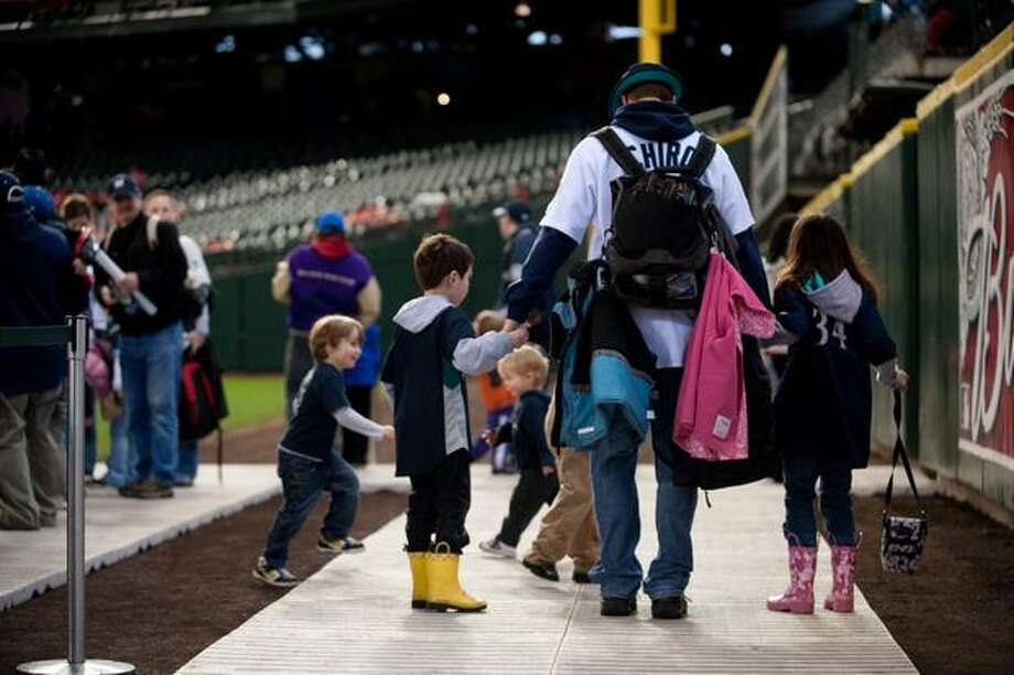 Safeco Field became a baseball-themed fair for families. Photo: Elliot Suhr, Seattlepi.com