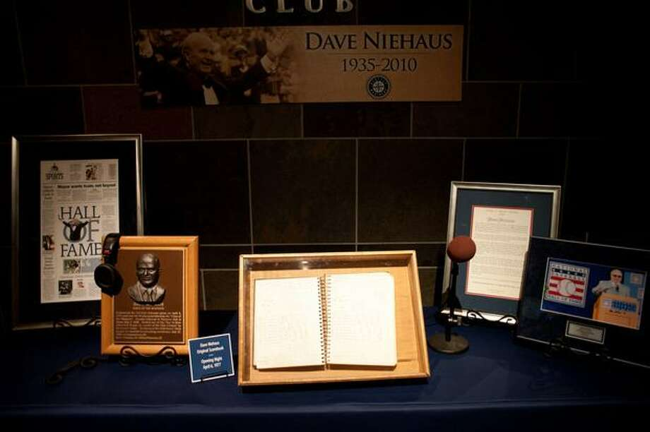 An exhibit in remembrance of Dave Niehaus, legendary announces, who passed away in November. Photo: Elliot Suhr, Seattlepi.com