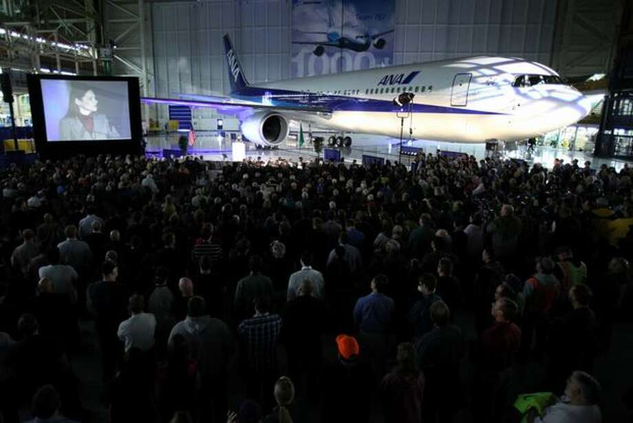 Boeing employees and guests participate in a ceremony celebrating the 1,000th Boeing 767 airplane and relocation of the 767 production line within Boeing's Everett plant. Photo: Joshua Trujillo, Seattlepi.com