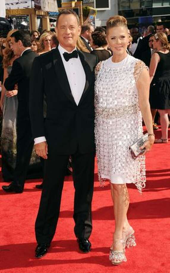 Actors Tom Hanks (left) and Rita Wilson arrive at the 62nd annual Primetime Emmy Awards held at the Nokia Theatre L.A. Live in Los Angeles on Sunday, Aug. 29, 2010. Photo: Getty Images