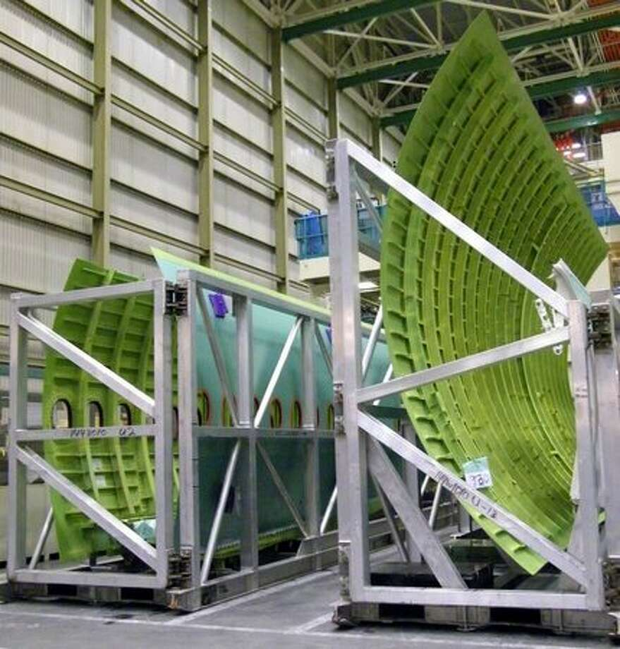 Fuselage panels for a Boeing 777 acclimate in Boeing's wide-body plant in Everett, Wash. Photo: Aubrey Cohen, Seattlepi.com
