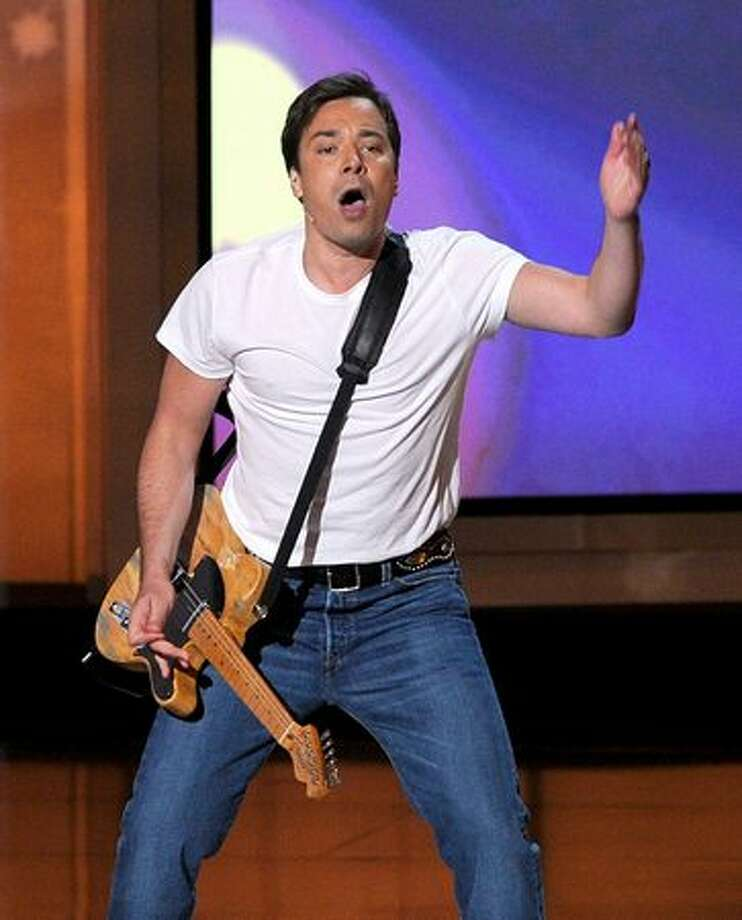 Host Jimmy Fallon performs onstage at the 62nd annual Primetime Emmy Awards held at the Nokia Theatre L.A. Live in Los Angeles on Sunday, Aug. 29, 2010. Photo: Getty Images