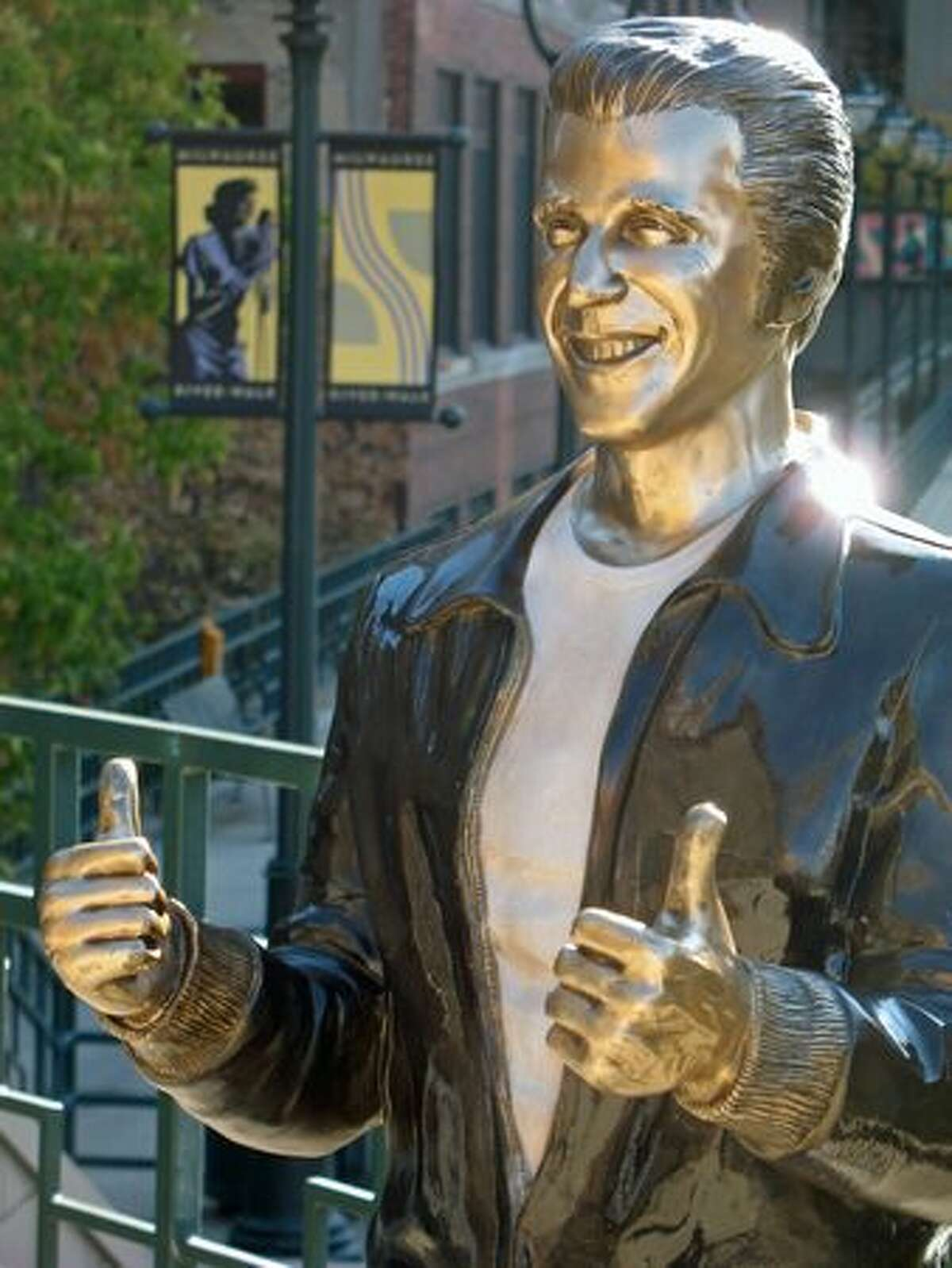 A statue of Fonzie, Henry Winkler's cool character from