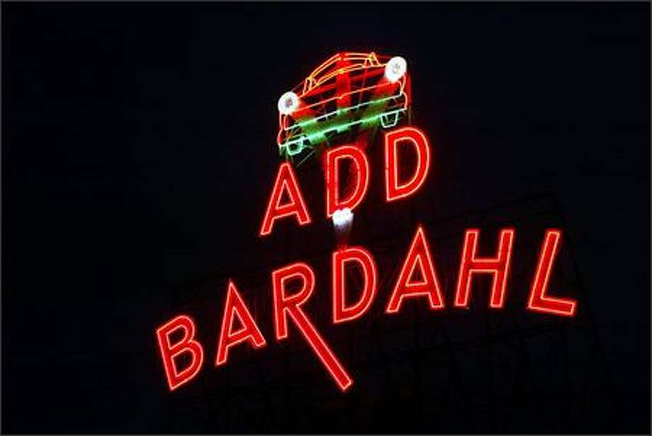 Bardahl's neon sign greets drivers as they cross the Ballard Bridge. Photo: Phil H. Webber, Seattle Post-Intelligencer