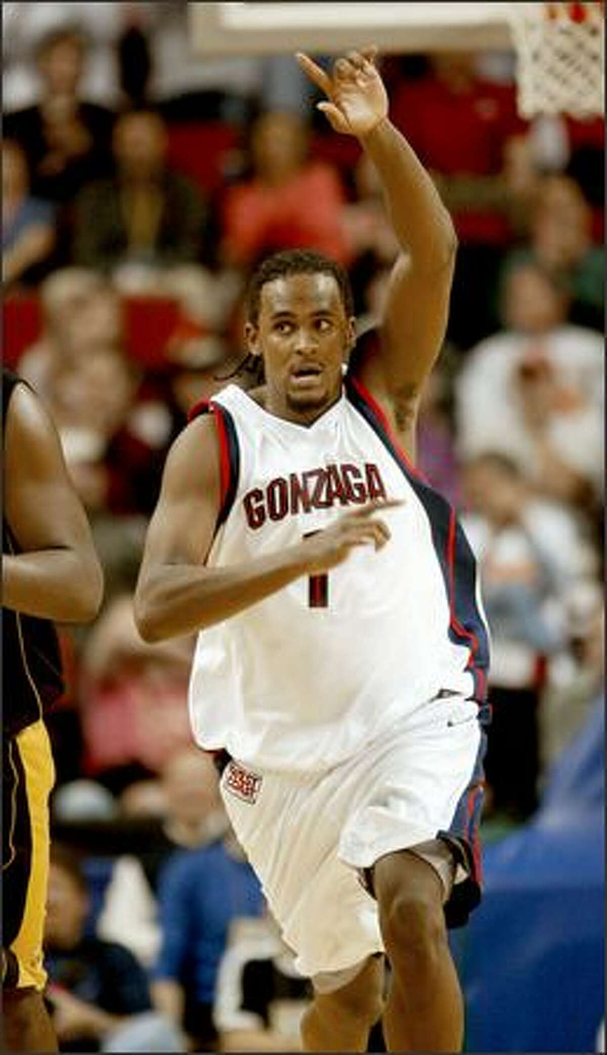 Gonzaga's Ronny Turiaf shook off a poor first half performance and looked dominating in the second half.