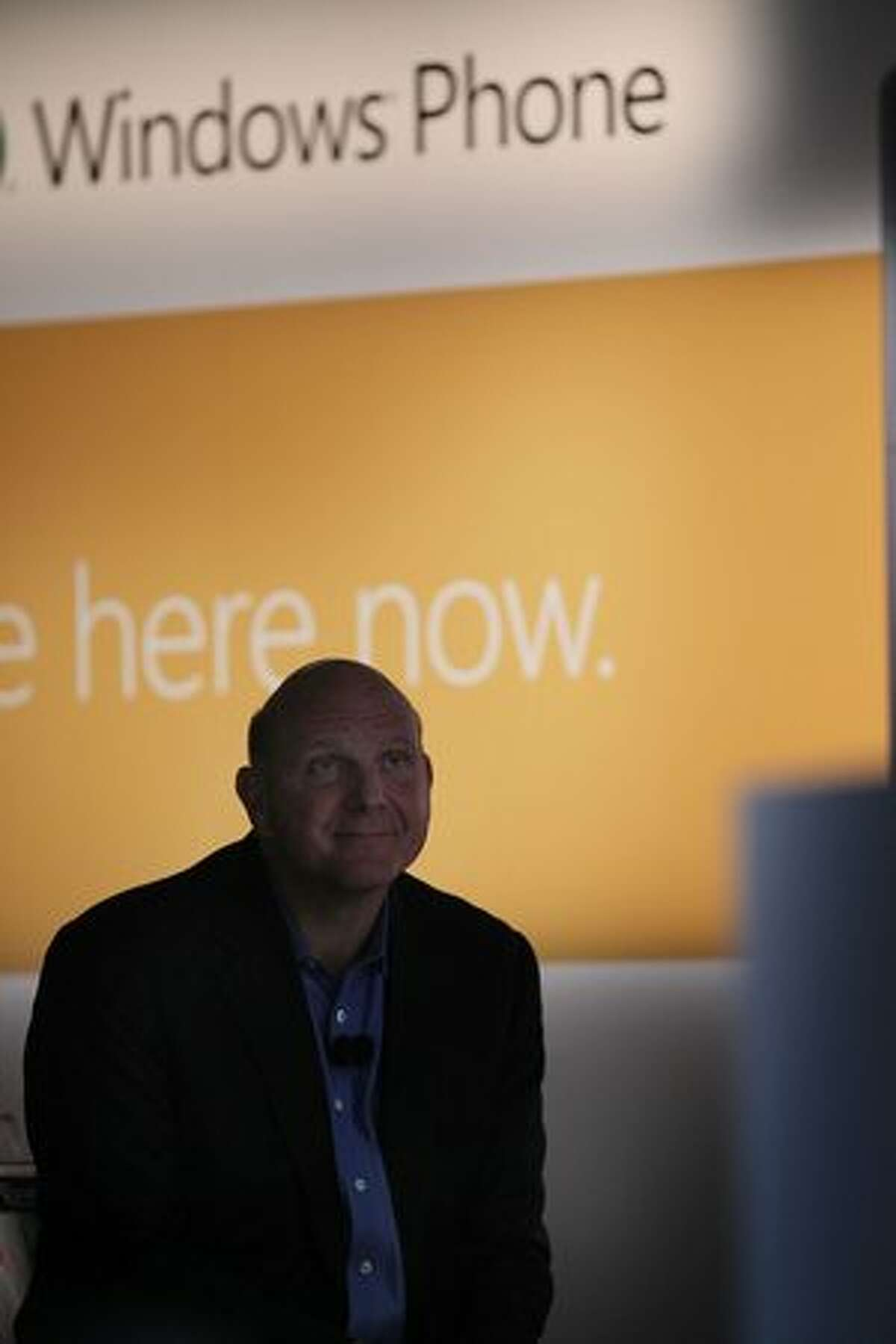 Microsoft CEO Steve Ballmer introduces the new Windows Phone 7 mobile operating system on Oct. 11, 2010, in New York, New York. The platform, which will be available in the U.S. on AT&T's and T-Mobile's networks, looks to compete with the iPhone, Android and BlackBerry smart phones.