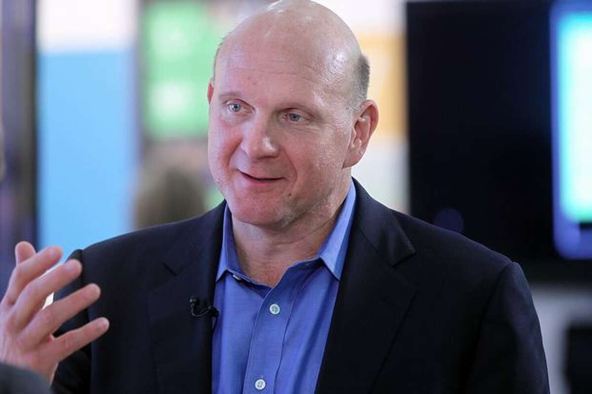 Microsoft CEO Steve Ballmer speaks during the launch of Windows Phone 7 on Oct. 11, 2010, in New York, New York.
