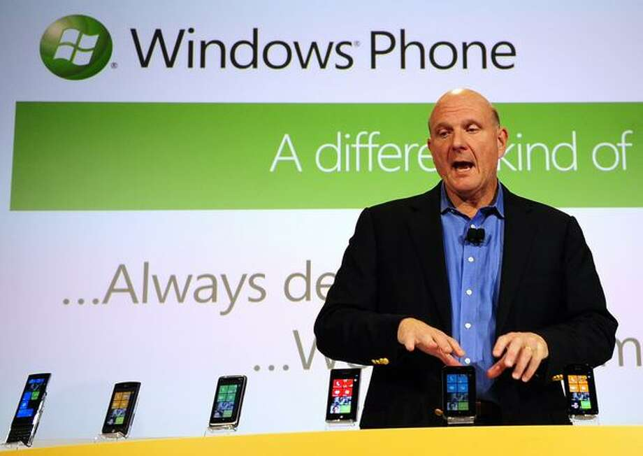 Ballmer unveils Windows Phone 7 in New York, Oct. 11, 2010. The new Windows Phone was Microsoft's attempt to take on Apple and Android. It's fared better than the company's previous phone efforts, although it's still far behind its rivals. Photo: Getty Images