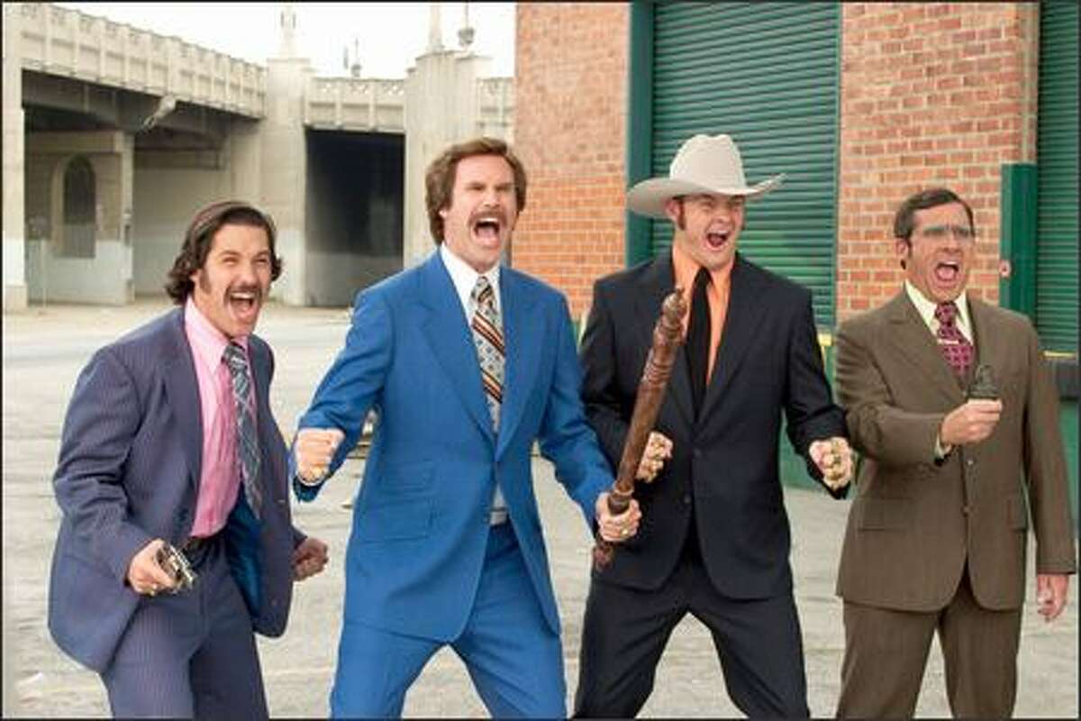 From left, Brian Fantana (Paul Rudd), Ron Burgundy (Will Ferrell), Champ Kind (David Koechner) and Brick Tamland (Steve Carell) defend their turf as San Diego's top-rated news team.