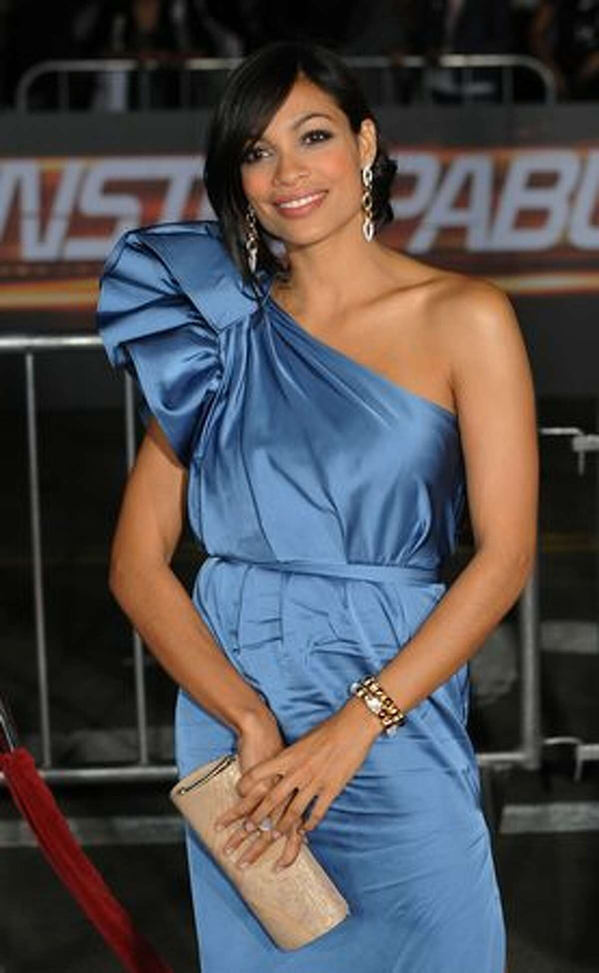 Actress Rosario Dawson arrives on the red carpet for the premiere of the film