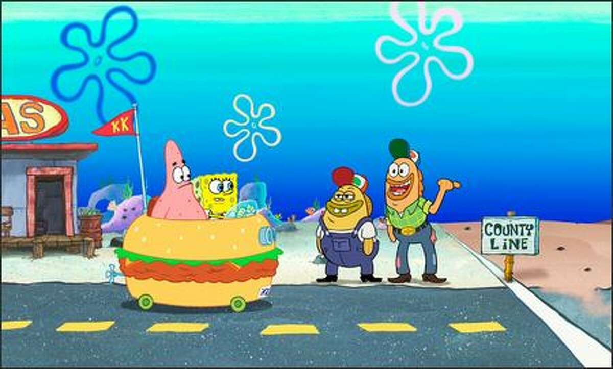 Patrick and SpongeBob are aided by some gas station attendants.