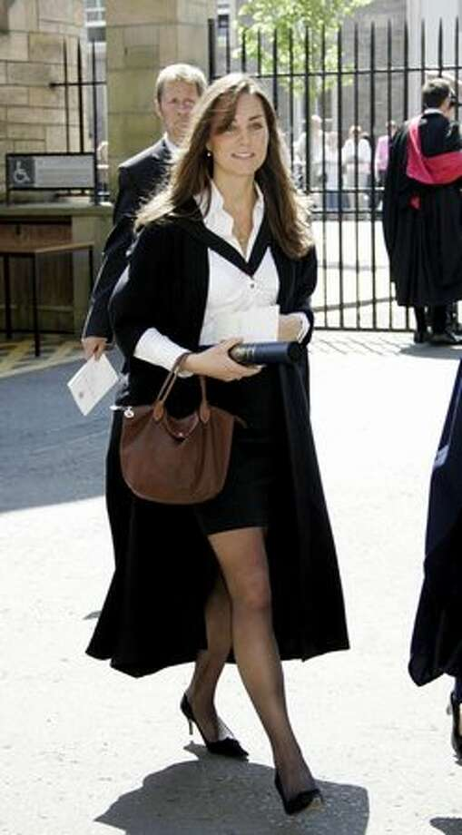 Kate Middleton walks during her graduation ceremony at St. Andrews, Scotland, June 23, 2005. Photo: Getty Images