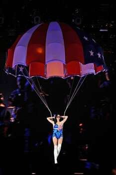 Singer Katy Perry parachutes in. Photo: Getty Images