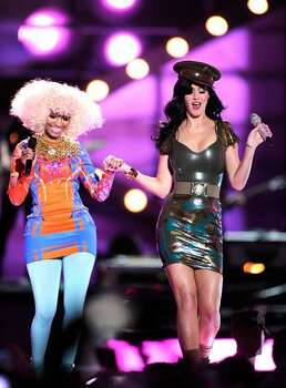 Recording artist Nicki Minaj and singer Katy Perry perform onstage. Photo: Getty Images