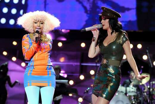 Singers Nicki Minaj (left) and Katy Perry perform onstage. Photo: Getty Images