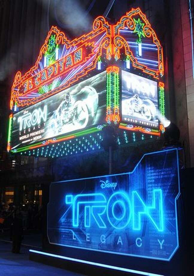 "A view of the marquee at Walt Disney's ""TRON: Legacy"" world premiere held at the El Capitan Theatre in Los Angeles on Saturday, Dec. 11, 2010. Photo: Getty Images"