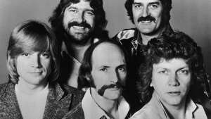 British rock group The Moody Blues, 26th July 1978. From left to right, (top) Graeme Edge and Ray Thomas, (bottom) John Lodge, Mike Pinder and Justin Hayward.