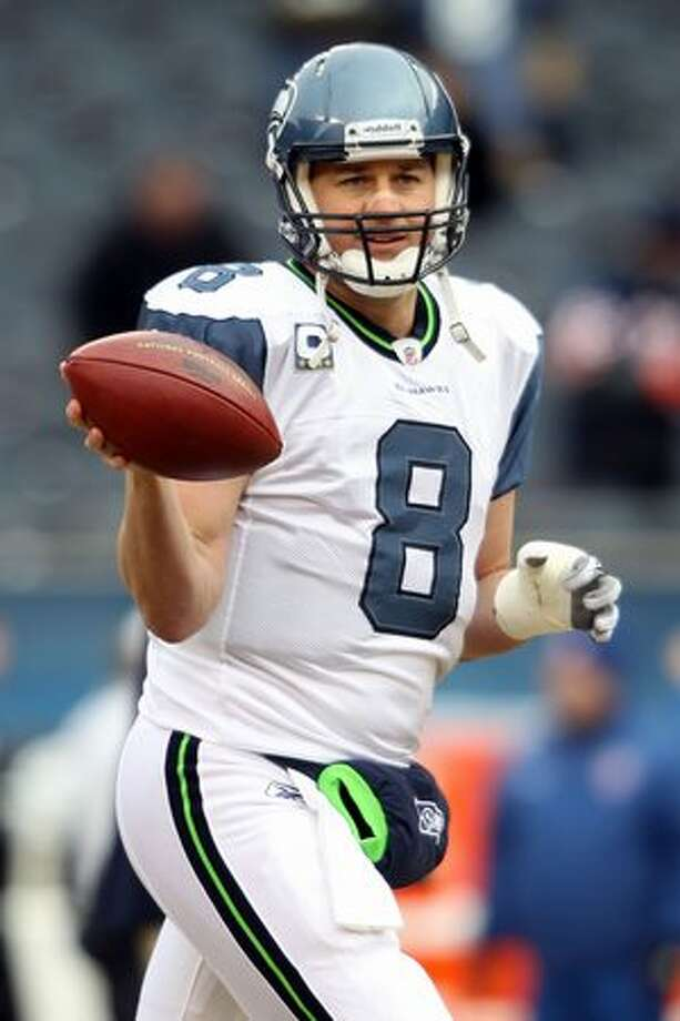 CHICAGO, IL - JANUARY 16: Quarterback Matt Hasselbeck #8 of the Seattle Seahawks looks on during pregame before taking on the Chicago Bears in the 2011 NFC divisional playoff game at Soldier Field on January 16, 2011 in Chicago, Illinois. Photo: Getty Images