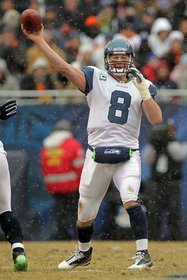 CHICAGO, IL - JANUARY 16: Quarterback Matt Hasselbeck #8 of the Seattle Seahawks throws the ball in the first half against the Chicago Bears in the 2011 NFC divisional playoff game at Soldier Field on January 16, 2011 in Chicago, Illinois. Photo: Getty Images