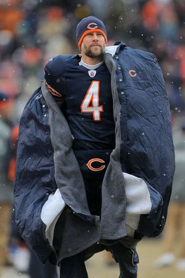 CHICAGO, IL - JANUARY 16: Punter Brad Maynard #4 of the Chicago Bears looks on from the sideline in the first half against the Seattle Seahawks in the 2011 NFC divisional playoff game at Soldier Field on January 16, 2011 in Chicago, Illinois. Photo: Getty Images