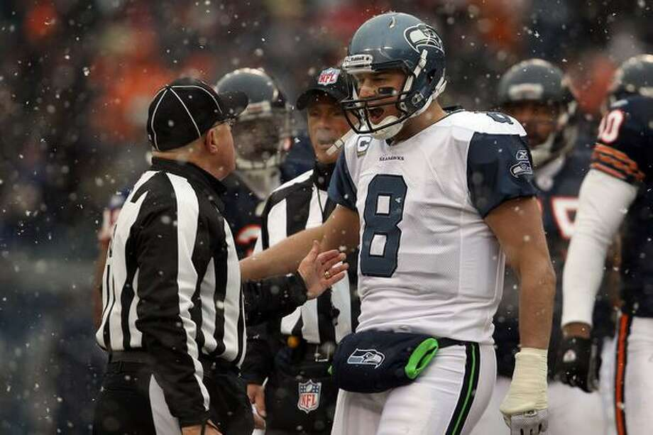 CHICAGO, IL - JANUARY 16: Quarterback Matt Hasselbeck #8 of the Seattle Seahawks argues with a referee in the first half against the Chicago Bears in the 2011 NFC divisional playoff game at Soldier Field on January 16, 2011 in Chicago, Illinois. Photo: Getty Images