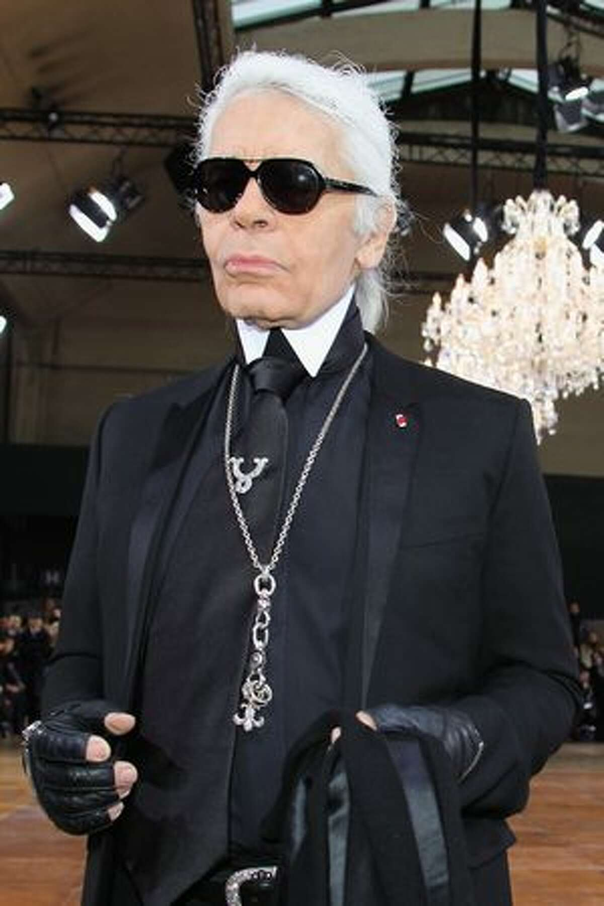 Karl Lagerfeld attends the Dior Homme fashion show as part of Paris Menswear Fashion Week Fall/Winter 2011-2012 in Paris, France.