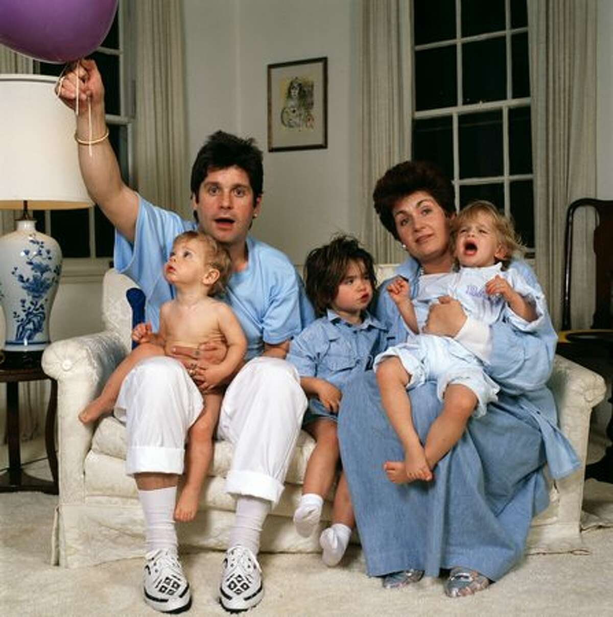 English rock singer Ozzy Osbourne and his wife Sharon and their children Aimee, Kelly and Jack, 1987,