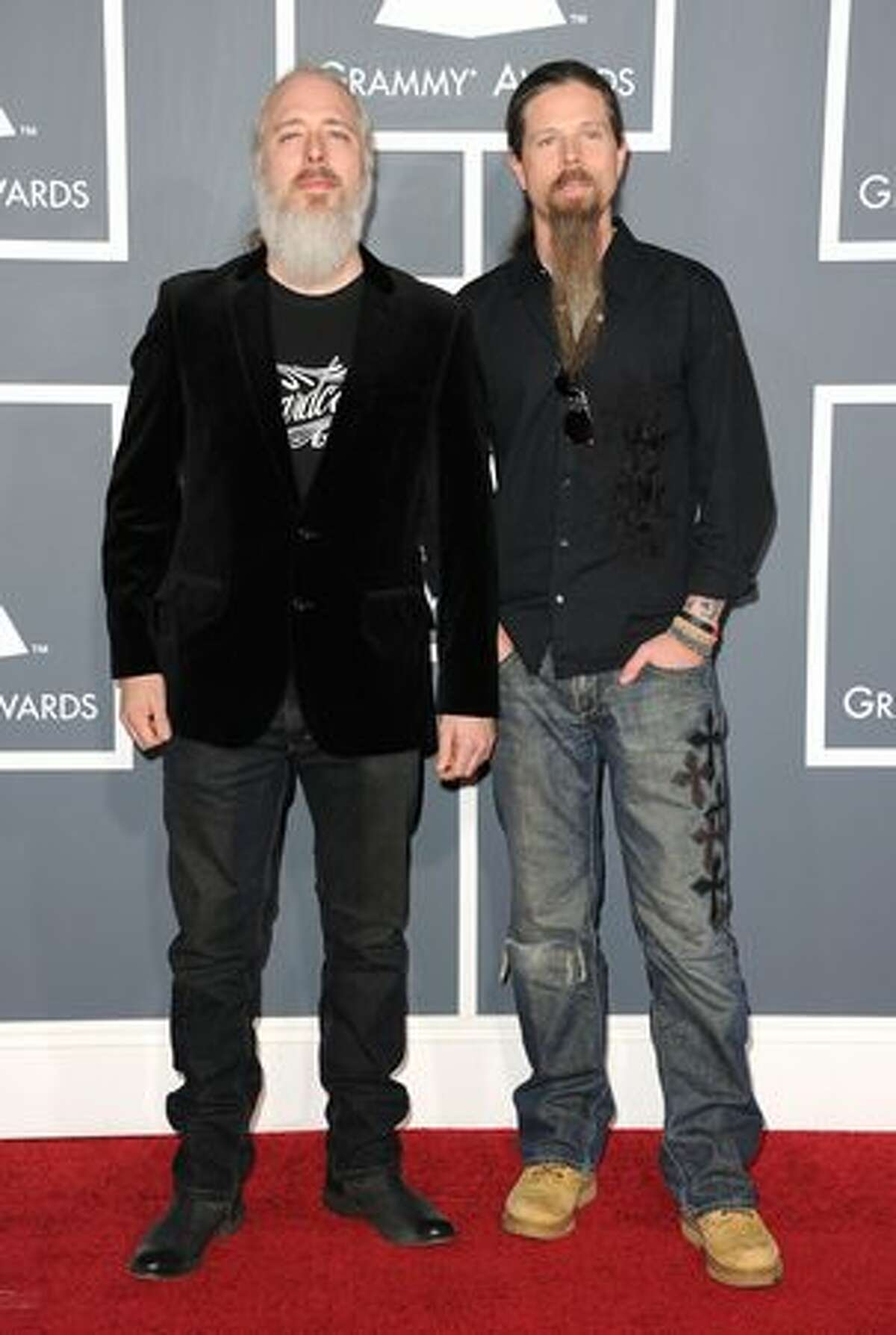 Lamb of God band members John Campbell and Chris Adler arrive at The 53rd Annual GRAMMY Awards held at Staples Center in Los Angeles, California.