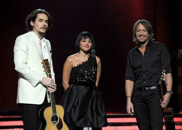 Musicians John Mayer, Norah Jones and Keith Urban perform onstage during The 53rd Annual GRAMMY Awards held at Staples Center in Los Angeles, California. Photo: Getty Images