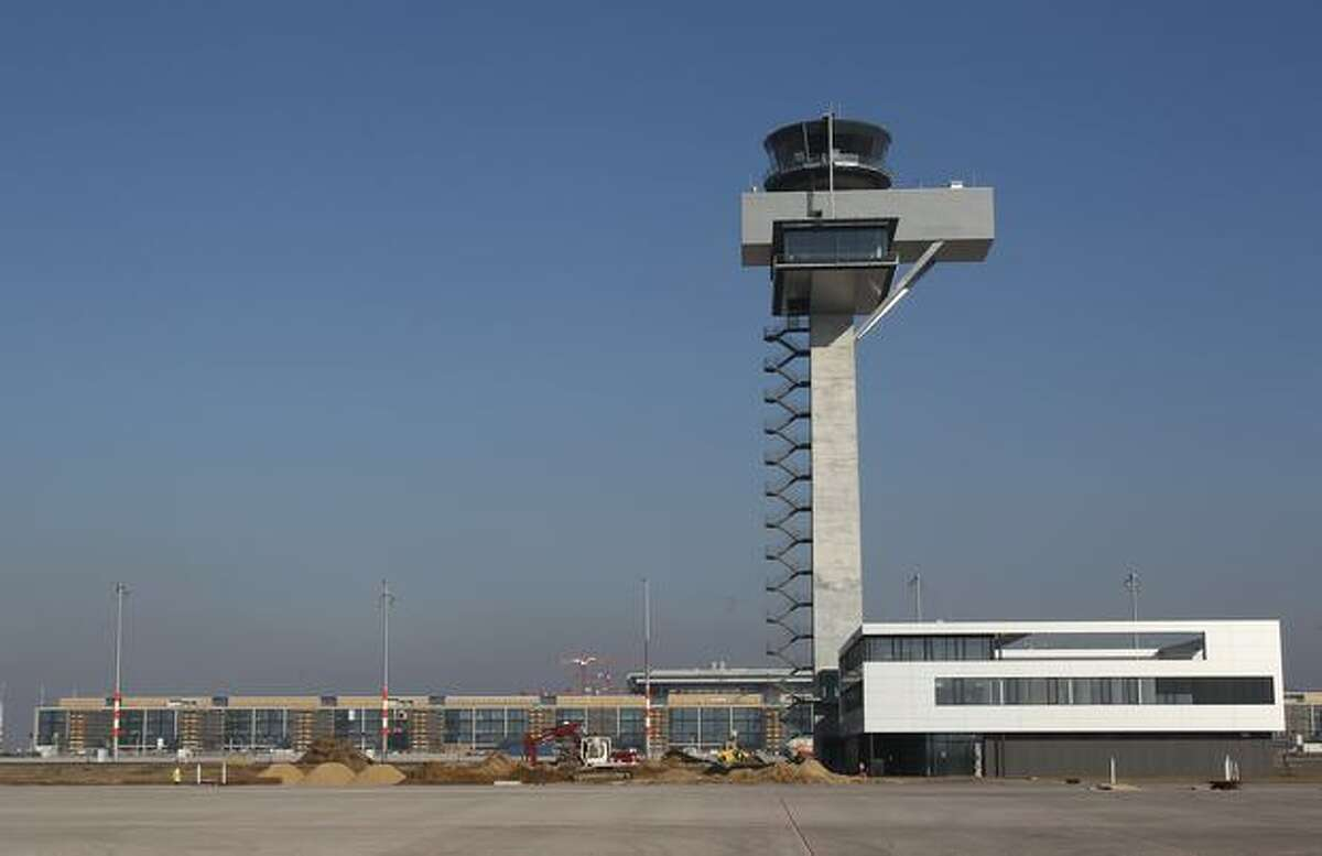 A view of the control tower at the main terminal of the new Airport Berlin Brandenburg International BBI in Schoenefeld, Germany. The airport, which will replace Berlin's current Tegel and Schoenefeld airports, will have a capacity of 25 million passengers and is scheduled for completion in June 2012.