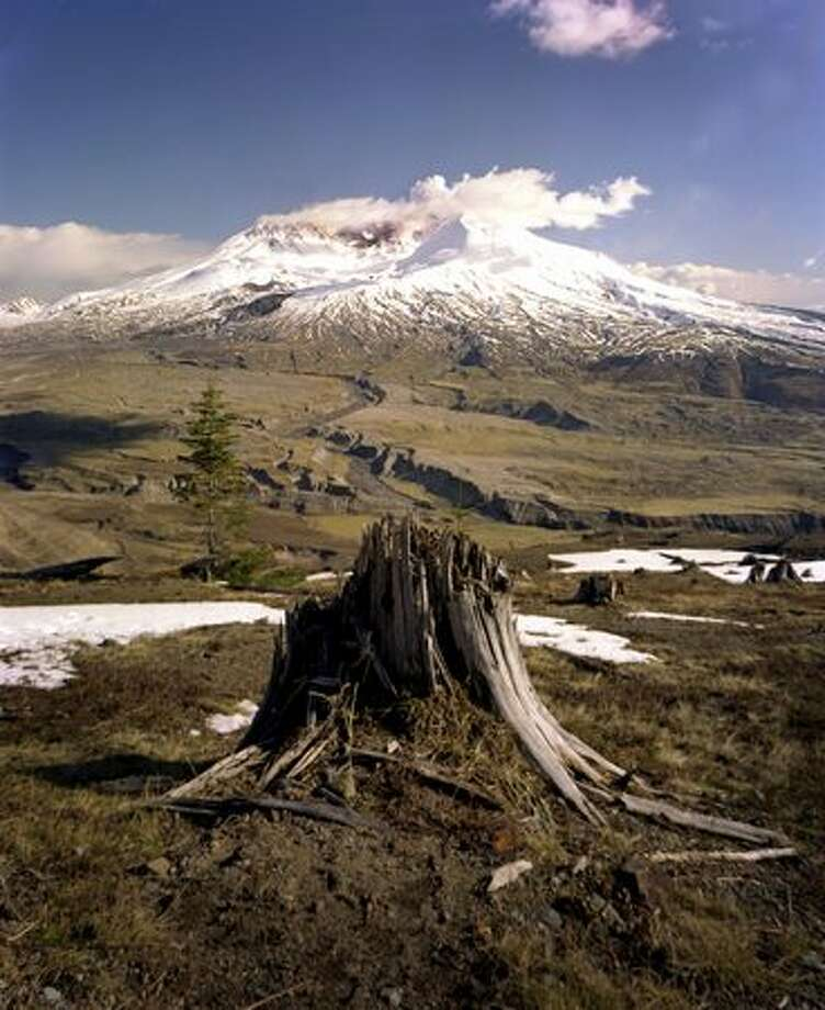 A view of Mt. St. Helens from Johnston Ridge on Tuesday, April 19, 2005 at Mt. St. Helens National Volcanic Monument. (Joshua Trujillo, Seattle Post-Intelligencer) Photo: P-I File
