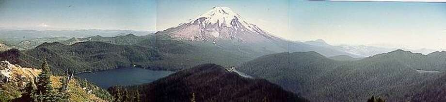 Mount St. Helens in a panoramic shot before the eruption. Photo: P-I File