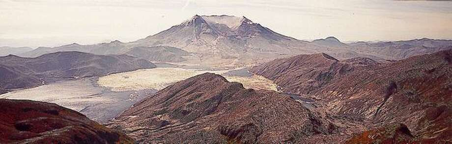 Mount St. Helens after the eruption from the same vantage point. Photo: P-I File
