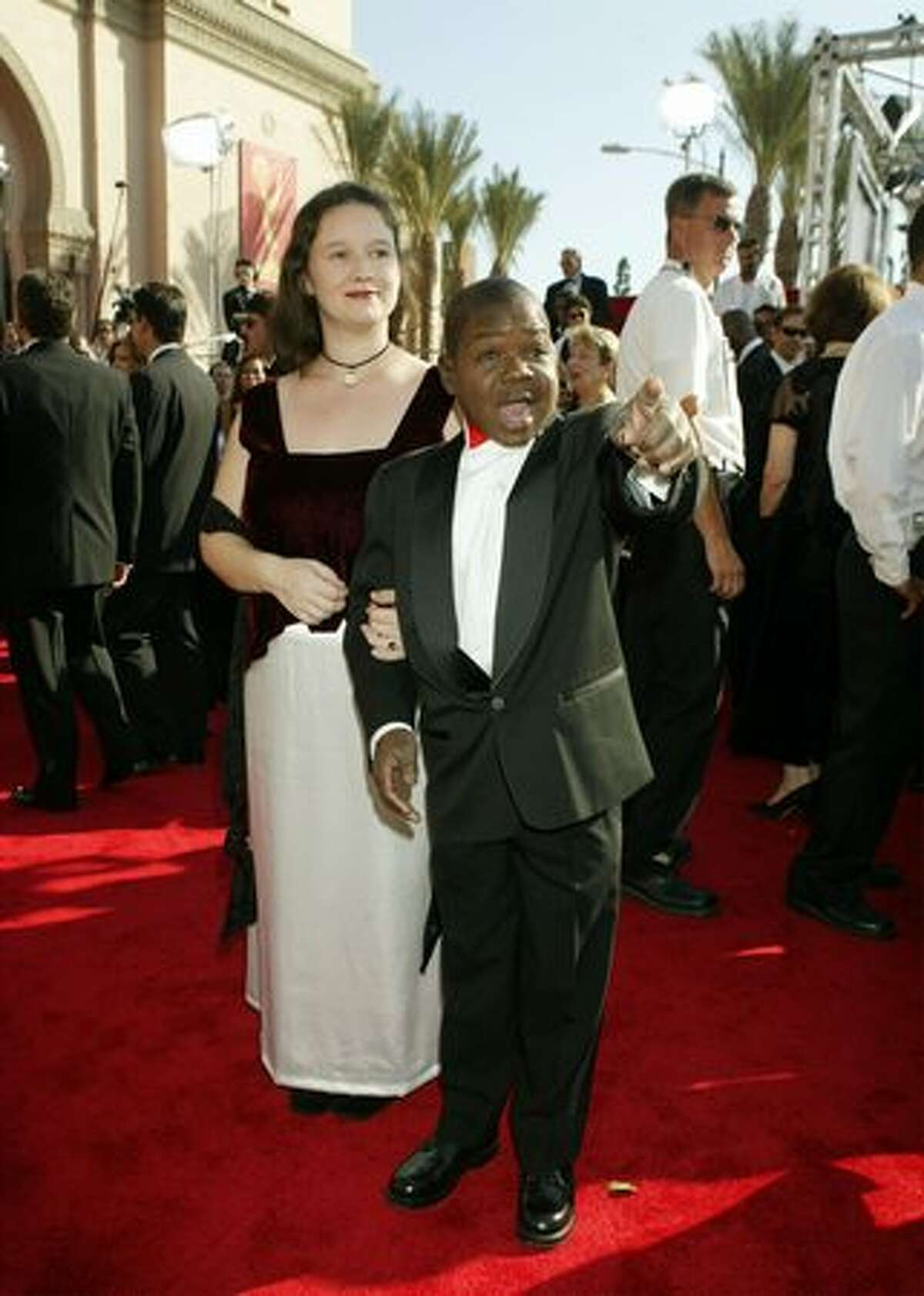 Actor Gary Coleman and guest attend the 55th Annual Primetime Emmy Awards at the Shrine Auditorium on Sept. 21, 2003, in Los Angeles.