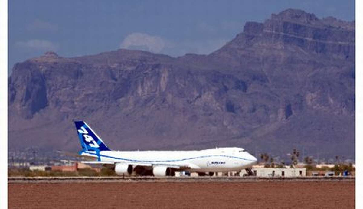 Boeing's third flight-test 747-8, RC522, during ground testing in Arizona, where it experienced temperatures above 105 degrees.