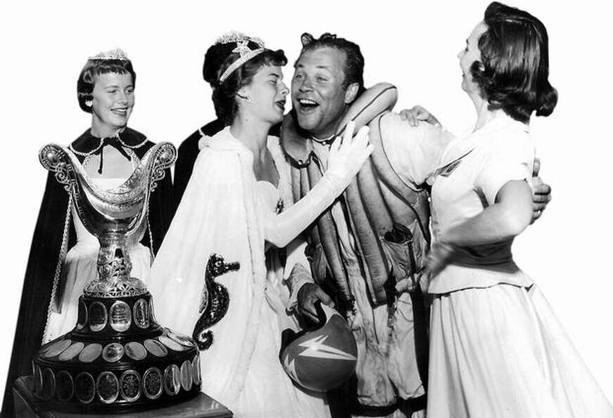 Bill Muncey being congratulated after winning the 1957 Gold Cup in Seattle.