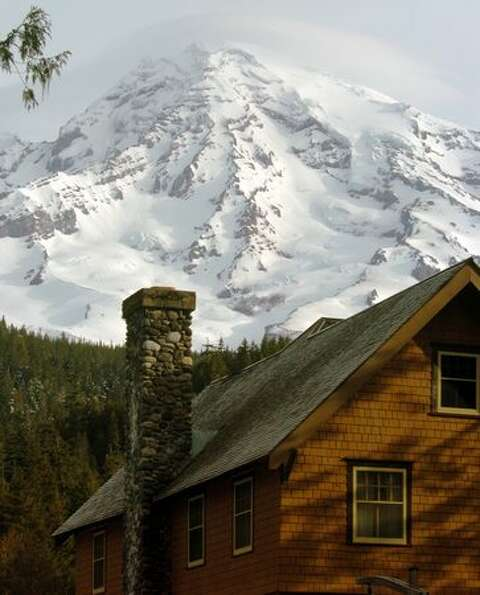 The National Park Inn in the foreground with Mount Rainier in the background. (Jeff Larsen / P-I)
