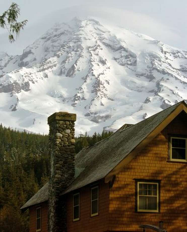 The National Park Inn in the foreground with Mount Rainier in the background. (Jeff Larsen / P-I) Photo: P-I File