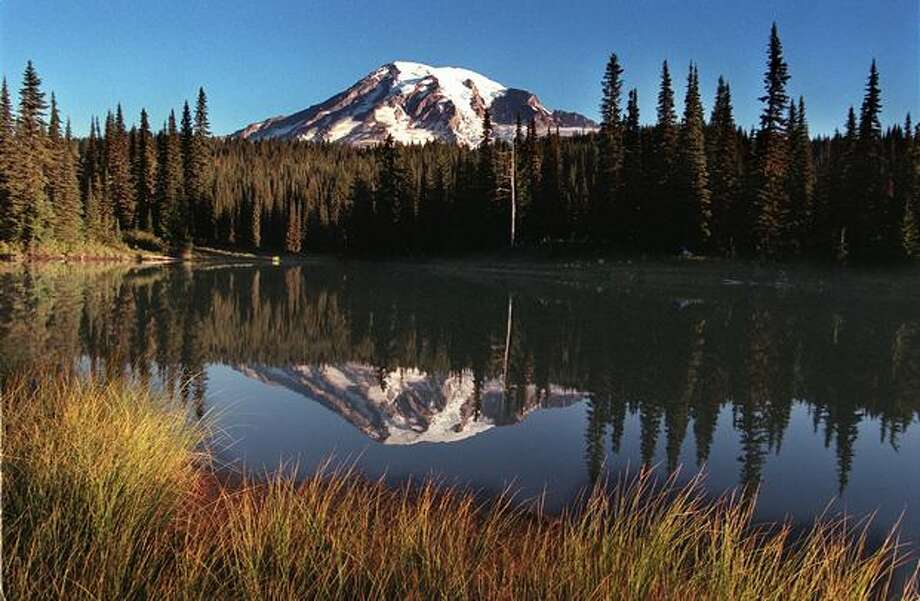 Mystic Lake with Mount Rainier in the background. Photo: P-I File