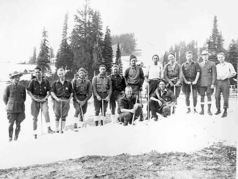 A search party at Paradise in Mount Rainier in July of 1929.