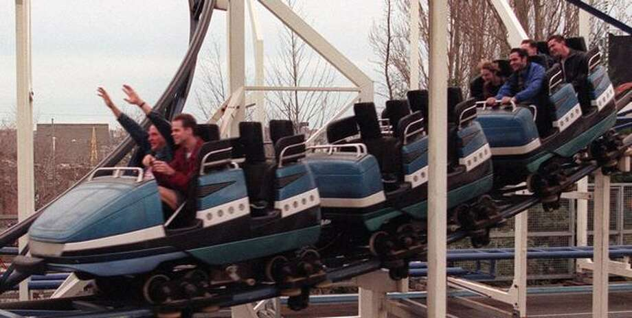The Windstorm roller coaster, Feb. 16, 1997. Photo: P-I File