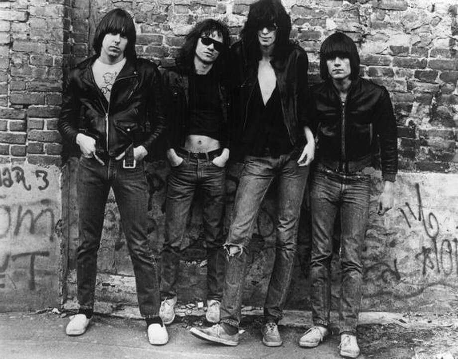 American punk rock group The Ramones. Left to right: Johnny Ramone (1948 - 2004) Tommy Ramone, Joey Ramone (1951 - 2001) and Dee Dee Ramone (1952 - 2002). Photo: Getty Images