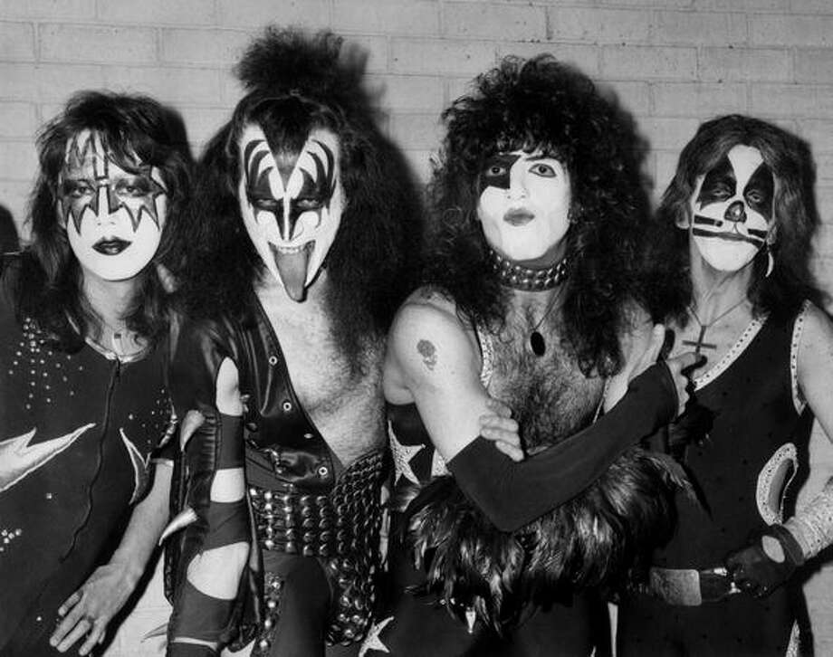 10th May 1976: American rock group Kiss arrive at London airport for their first European tour, already sporting black and silver makeup and costumes. From left to right they are lead guitarist Ace Frehley, bassist Gene Simmons, lead vocalist and rhythm guitarist Paul Stanley and drummer Peter Criss. Photo: Getty Images