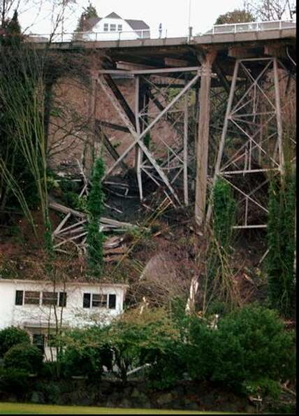 The Jan. 3, 1997 photo caption read: This is a view of secondary supports built for increased earthq